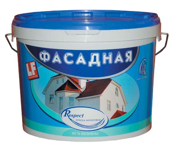 Краска фасадная акриловая Гермес РЕСПЕКТ (40 кг)Краска<br>Для декорирования наружных стен зданий рекомендуется краска фасадная акриловая Гермес РЕСПЕКТ (40 кг). После нанесения и окончательного высыхания она образует белое матовое покрытие устойчивое к воздействию атмосферных факторов и температурных перепадов, что определяет его высокие прочностные характеристики. Помимо этого краска активно используется для внутренней отделки влажных и неотапливаемых помещений, например: кухни, ванные комнаты, душевые, склады, гаражи, производственные цеха, сельскохозяйственные<br>