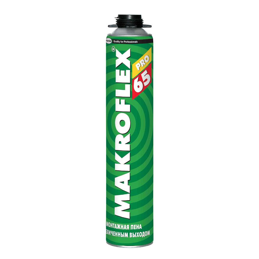 Пена профессиональная монтажная Makroflex PRO 65 / Макрофлекс зимняя (750 мл)Монтажная пена<br>Монтажная пена зимняя MAKROFLEX PRO – качественный профессиональный инструмент, отличающийся высокой производительностью и эффективностью. Достаточно отметить, что из одного баллона MAKROFLEX PRO выход пены в среднем на 40% больше, в сравнении с обычными зимними монтажными пенами. Средство допускается использовать при низких температурах окружающего воздуха – до 15 градусов мороза. Это позволяет применять монтажную пену практически в любых погодных условиях при проведении строительных работ. При этом получа<br>