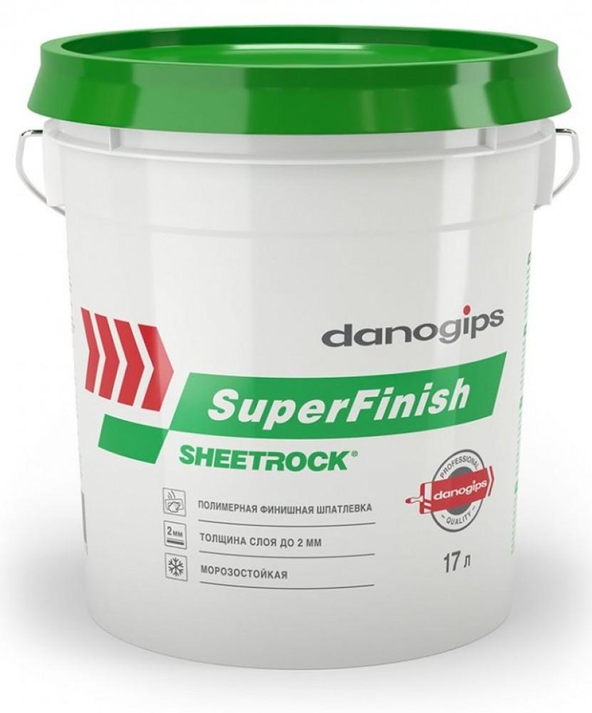 Шпатлевка DANOGIPS  (17 л / 28 кг) (ШИТРОК)Шпатлевки готовые<br>Уведомляем Вас о переименовании позиции SHEETROCK SUPERFINISH на DANOGIPS SUPERFINISH. Продукция будет производиться в упаковках прежнего формата. Обращаем Ваше внимание, что при производстве продуктов используется оригинальная американская рецептура, которая остается неизменной с начала производства шпатлевок в России. Универсальная готовая шпатлевка SHEETROCK банка (17 л/28 кг) выгодно отличается от аналогичных материалов, представленных на рынке, широкой областью применения. Она используется:- Для выравн<br>