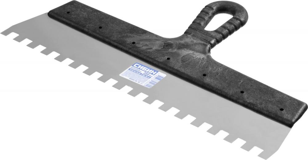 Шпатель нержавеющий СИБИН зубчатый (350 мм / 10 мм)Шпатели, кельмы, гладилки<br><br>