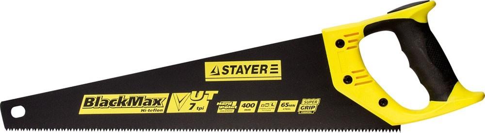 Ножовка универсальная (пила) STAYER BlackMAX (400 мм)Ножовки<br>Ручной инструмент ножовка универсальная (пила) STAYER BlackMAX (400 мм) станет верным помощником на стройплощадке, даче, в собственном доме, на пикнике и в лесу. С ее помощью легко распиливаются: доски, фанера, ДСП, бруски, ламинат, бревна и любые другие деревянные изделия, вплоть до веток и сучков в саду. Инструмент состоит из полотна с зубьями и рукоятки. Между собой оба элемента крепятся с помощью трех болтов, образуя прочное и надежное соединение.В настоящее время существует огромный выбор электроинстру<br>