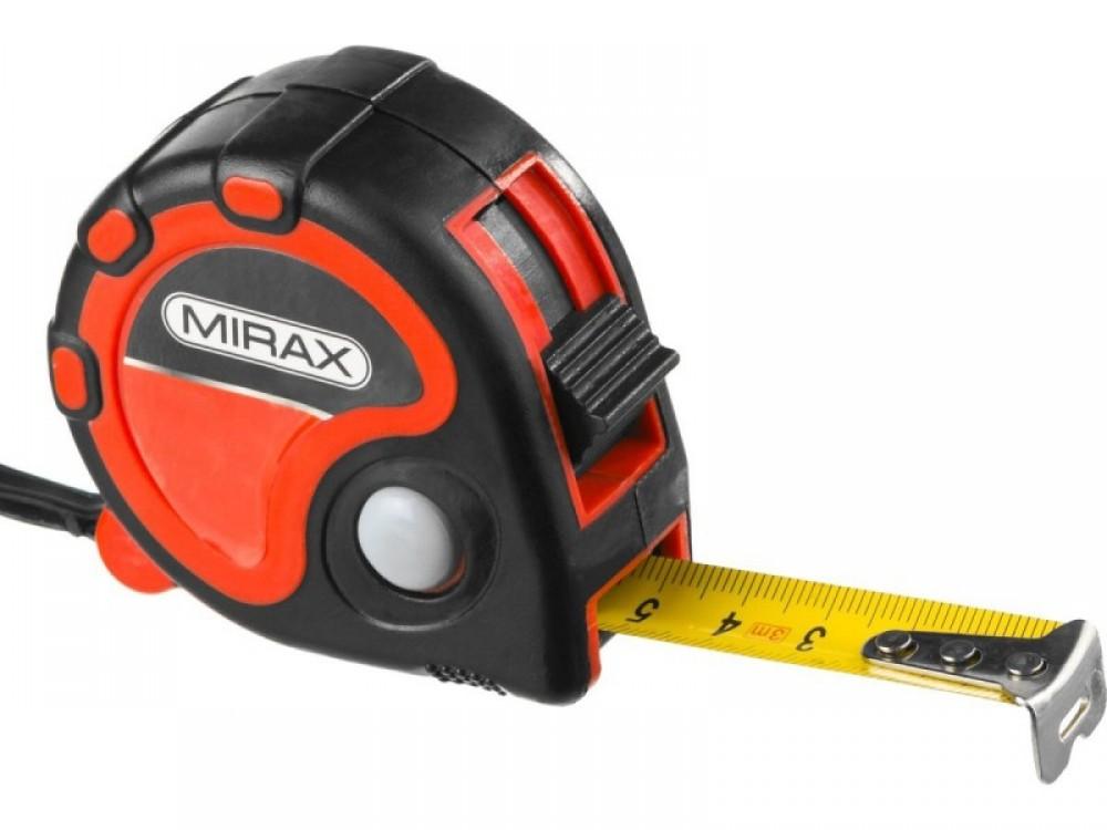 Рулетка Mirax двухкомпонентный пластиковый корпус (3 стопора / 25 мм / 10 м)Рулетки<br><br>
