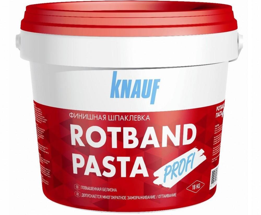 Готовая шпаклевка Knauf Rotband Pasta Profi / Кнауф Ротбанд Паста Профи (18 кг)Шпатлевки готовые<br>Готовая шпатлевка Knauf Rotband Pasta Profi с виниловой основой отличается великолепной белизной, обладает высокими адгезионными свойствами и устойчивостью к появлению на поверхности трещин. Это идеальный материал для нанесения финишного тонкого слоя. Высокая пластичность делает работу с пастообразной шпаклевкой легкой, материал при нанесении легко разравнивается и прекрасно заполняет мельчайшие неровности. После высыхания слоя поверхность полностью готова к нанесению декорирующего слоя краски или оклейке о<br>