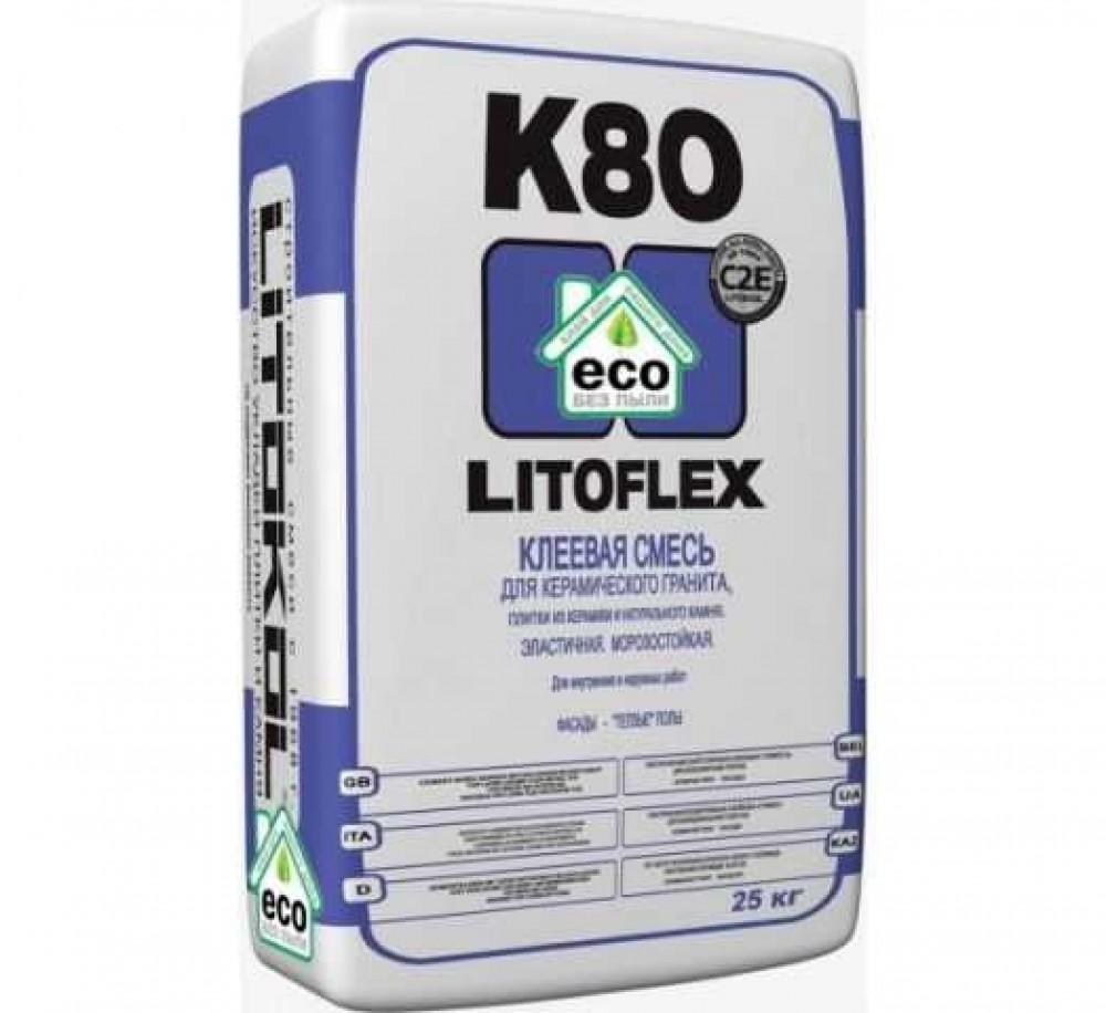 Клеевая смесь LITOKOL LITOFLEX K80 ECO / ЛИТОКОЛ ЛИТОФЛЕКС К80 ЭКО (25 кг)Плиточный клей, клеевые смеси<br><br>