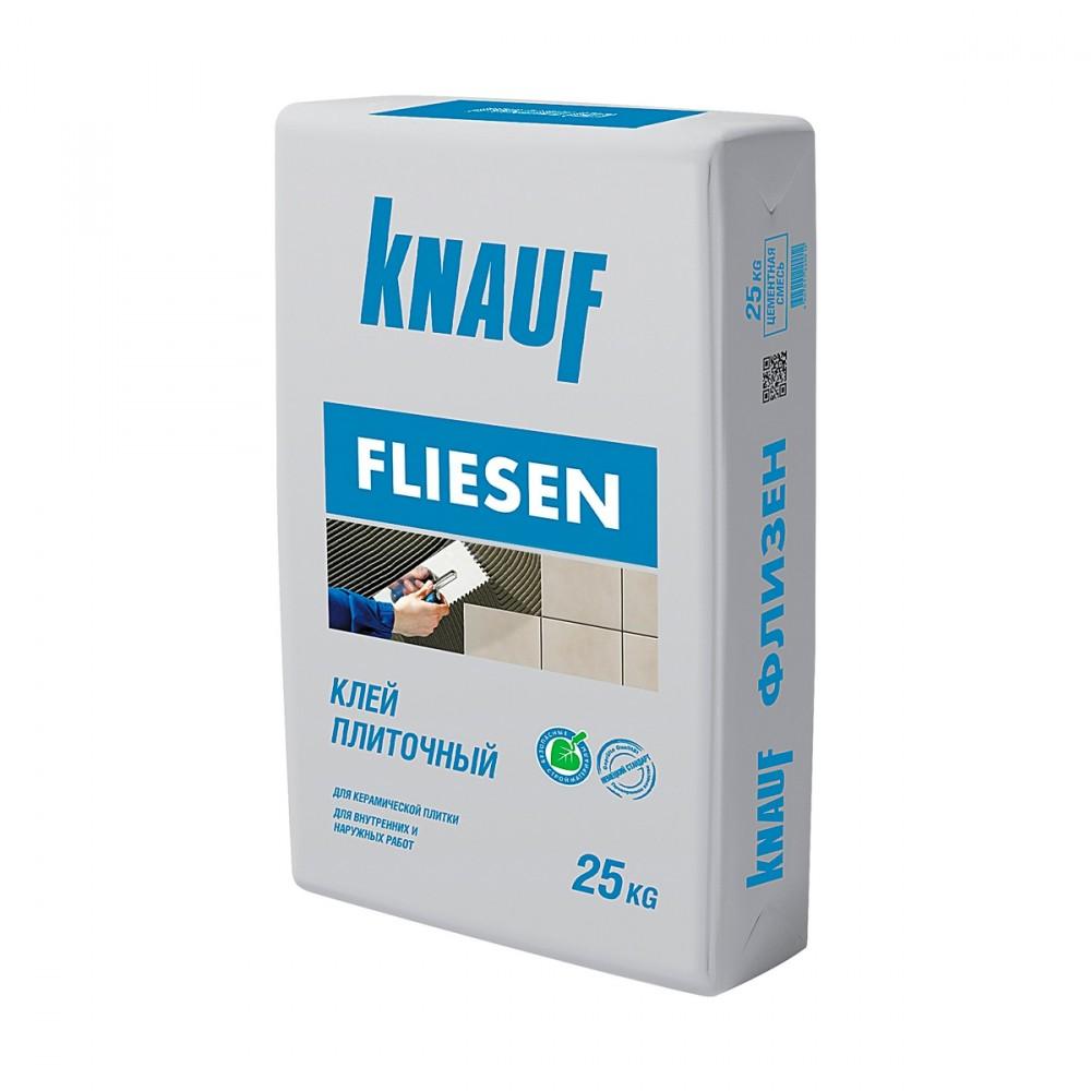 Клей плиточный KNAUF FLIESEN / КНАУФ ФЛИЗЕН (25 кг)Плиточный клей, клеевые смеси<br>Для облицовки ровных поверхностей рекомендуется использовать клей плиточный KNAUF FLIESEN (25 кг). В состав материала входят: цемент (основное вяжущее), наполнитель и специальные добавки, значительно улучшающие свойства продукта. Клей применяется для тонкослойной укладки керамической плитки и мозаики, на заранее подготовленное  бетонное, оштукатуренное, гипсокартонное основание. Сфера использования включает: наружные работы (особенно часто применяется для облицовки фасадов выше цоколя), внутреннюю отделку с<br>