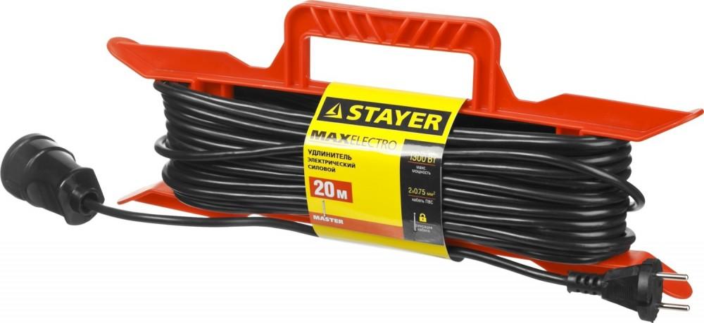 Удлинитель STAYER MASTER электрический на рамке 1 гнездо (20 м)Электрические удлинители, катушки<br><br>