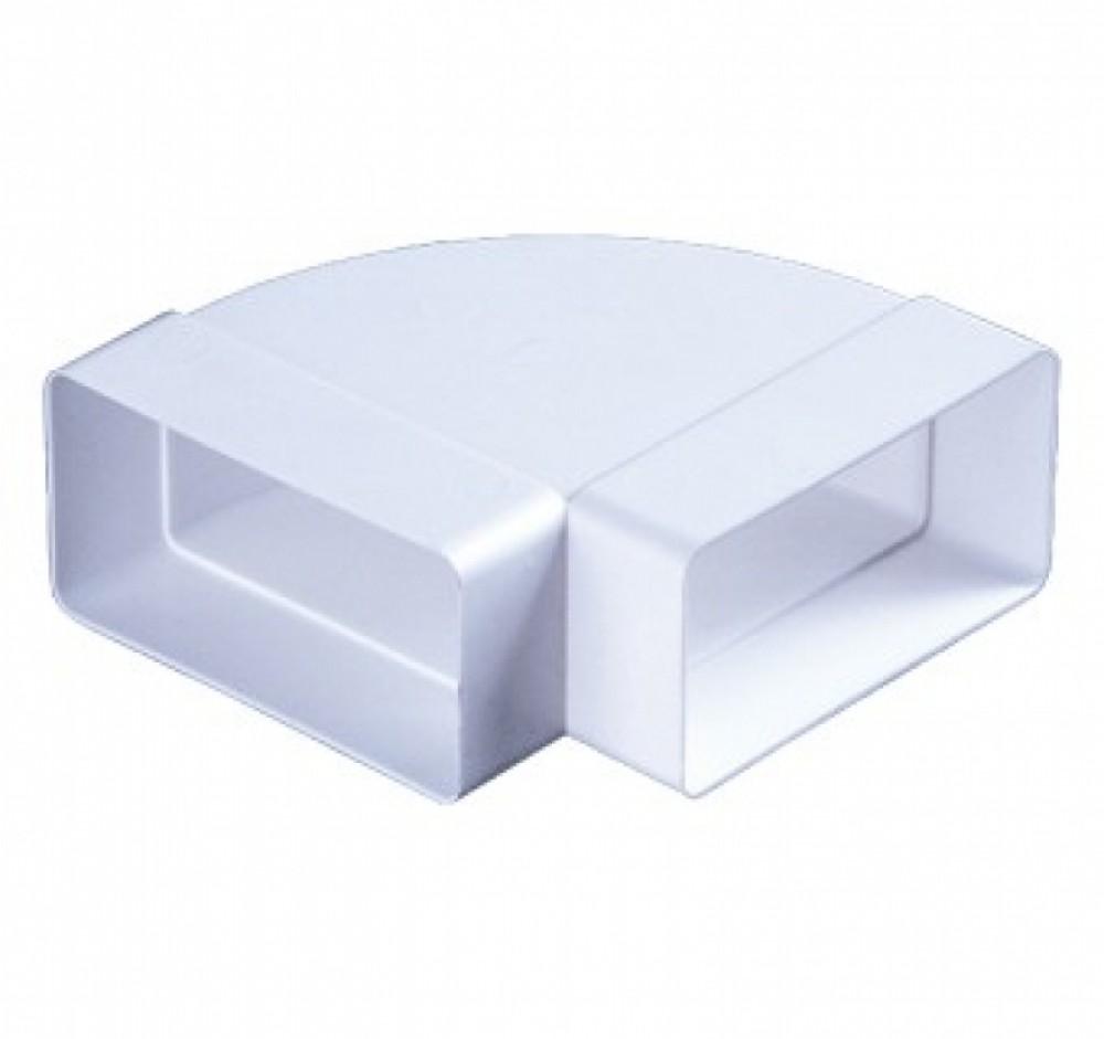 Колено горизонтальное 90° для прямоугольных воздуховодов (55х110 мм)Вентиляция<br>Колено горизонтальное разноугловое, 55х110 – используется в системах приточной или вытяжной вентиляции помещений в качестве соединительного элемента плоских каналов между собой под разным углом. Изменить угол направления канала можно благодаря удалению секций колена. Изготовлено из ударопрочного полистирола белого цвета. Плоские каналы прямоугольного сечения соединяются между собой напрямую.<br>