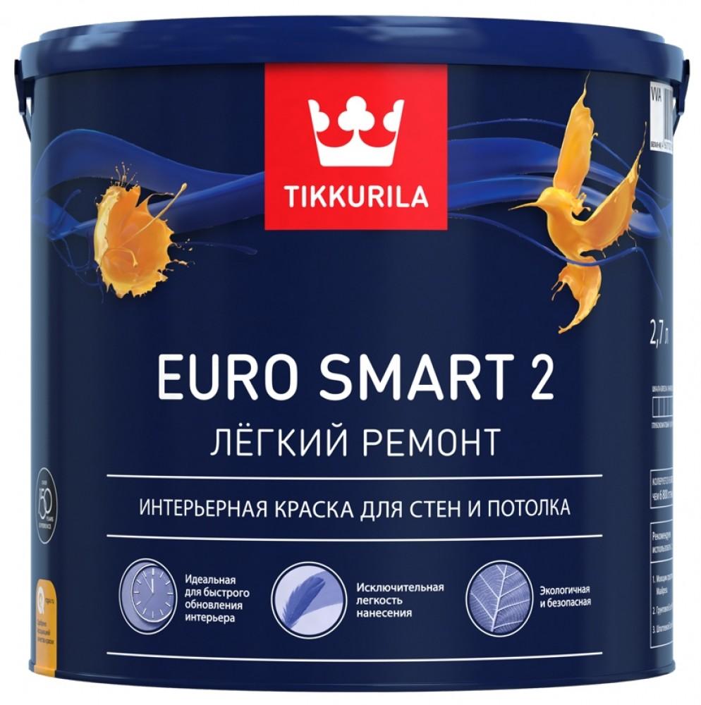 Краска водно-дисперсионная Tikkurila Euro Smart 2 / Тиккурила Евро 2 (2.7 л)Краска<br>Изготовленная на акриловой сополимерной основе краска латексная Tikkurila Euro 2 (2,7 л) отличается глубокоматовой степенью блеска. Она предназначена для использования внутри сухих помещений по стенам, потолкам и перегородкам. Сочетается с любыми материалами оснований: шпаклевка, штукатурка, бетон, гипсокартон, ДСП, ДВП, ГВЛ, оргалит, обои под покраску и так далее. Может наноситься на ранее окрашенные и новые поверхности.Удобство примененияКраска позволяет реализовать любые творческие идеи дизайнеров, не за<br>