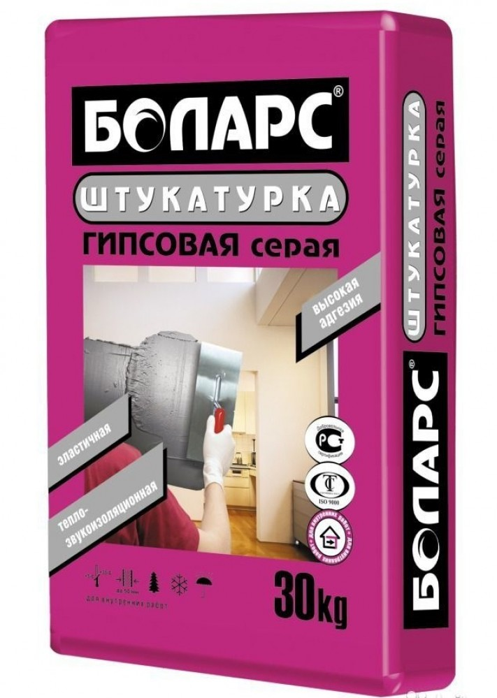 Штукатурка гипсовая Боларс серая (30 кг)Штукатурные смеси<br>Цвет - серыйВремя высыхания - 4 часаПлотность затвердевшего раствора - 1150-1250 кг/м3Количество воды на 1 кг сухой смеси - 0,50-0,56 лТолщина наносимого слоя - 2-50 ммАдгезия - не менее 0,5 МПаПрочность на сжатие - не менее 2,5 МПаТемпература проведения работ +5°С+30°СТемпература эксплуатации +5°С+60°СВремя пригодности раствора к работе - не менее 1 часаУдельная эффективная активность ЕРН - 370 Бк/кг, класс 1Теплопроводность - 0,25 Вт/мК<br>