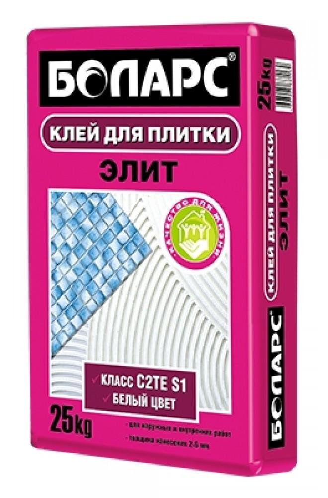 Клей плиточный Боларс ЭЛИТ (25 кг)Плиточный клей, клеевые смеси<br>Цвет - серыйВремя высыхания - 24 часаКоличество воды на 1 кг сухой смеси - 0,23-0,26 лТолщина наносимого слоя - 2-6 ммАдгезия - 1,6 МПа ( для плитки с в/п  3% в нормальных условиях твердения)Устойчивость к сползанию0 смПрочность на сжатие - 7,5 МПаТемпература проведения работ+5°С+30°СТемпература эксплуатации -40°С+70°СМорозостойкость - не менее 50 цикловВремя пригодности раствора к работе - не менее 3 часовРасход - 2,5-2,8 кг/м2 (при использовании шпателя с размером зубьев 6х6 мм)Открытое время - 30 минут<br>