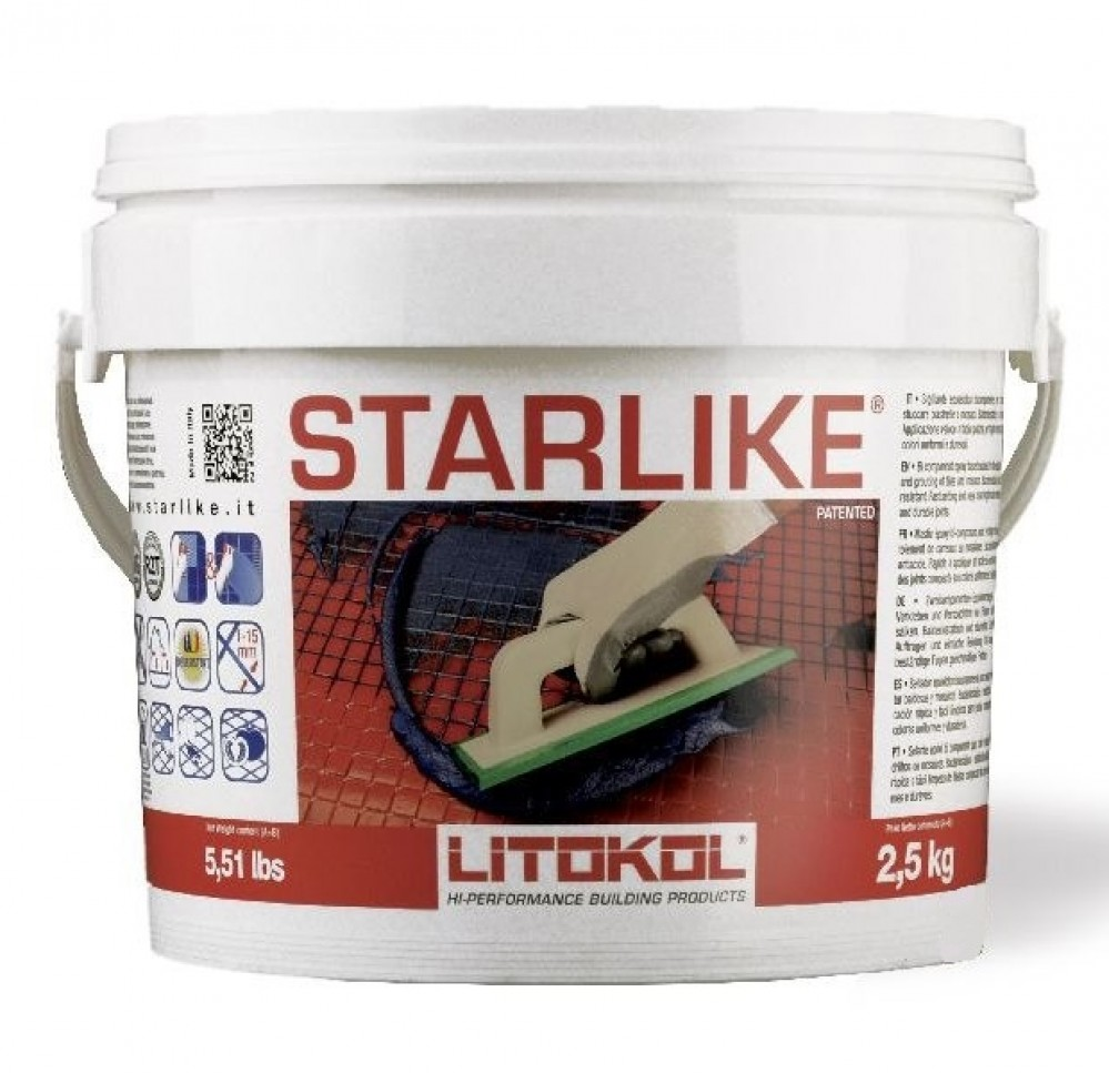 Эпоксидная затирка LITOKOL LITOCHROM STARLIKE C.520 / ЛИТОКОЛ ЛИТОХРОМ СТАРЛАЙК слоновая кость (2.5 кг)Затирка для плитки<br>LITOCHROM STARLIKE — эпоксидный двухкомпонентный кислотостойкий состав. Компонент А представляет собой смесь эпок- сидной смолы, кремниевых наполнителей и добавок. Компонент B является отвердителем.<br><br>Основными характеристиками продукта являются:<br><br>повышенная механическая устойчивость;<br>отличная химическая устойчивость;<br>полное отсутствие трещин или пустот после затвердения;<br>необычайная легкость очистки даже по сравнению с обычными цементными затирками;<br>эксклюзивные расцветки с эффектом металлик;<br>постоянство цв<br>