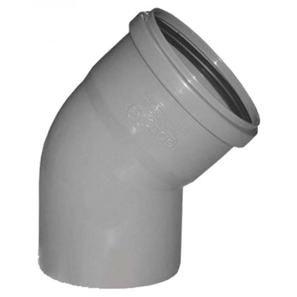 Отвод для внутренней канализации Политэк (110 мм / 45)Фитинг полипропиленовый канализационный<br><br>