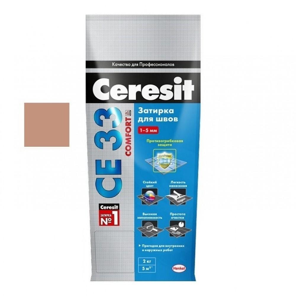 Затирка Ceresit CE33 Comfort / Церезит СЕ33 Комфорт светло-коричневая (2 кг)Затирка для плитки<br>Получить гладкий шов, используя традиционные расшивки достаточно сложно. Приходится добавлять различные присадки-эластификаторы, однако и их применение не всегда обеспечивает требуемый результат. Затирка CERESIT CE33 светло-коричневая (2 кг) № 55 гарантирует получение швов с гладкой поверхностью, без наплывов, перепадов, раковин и шероховатостей. Ее применение визуально преображает облицовку, делает плиточное покрытие удивительно красивым и неповторимым.Помимо идеальной поверхности, швы отличаются непревзой<br>