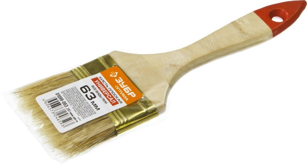 Кисть плоская ЗУБР УНИВЕРСАЛ-ОПТИМА (63 мм)Кисти<br>Несмотря на широкое применение валиков, краскопультов, всевозможных распылителей, аэрозольных красок, кисть плоская ЗУБР УНИВЕРСАЛ-ОПТИМА (63 мм) остается незаменимым инструментом. На ее популярность влияют три основных фактора:- Удобство применения. Инструмент отличается эргономичной деревянной ручкой, которая плотно удерживается в руке, во время работы не выскальзывает и не проворачивается. Плоское строение кисти дает возможность обрабатывать любые труднодоступные места, позволяет прок<br>