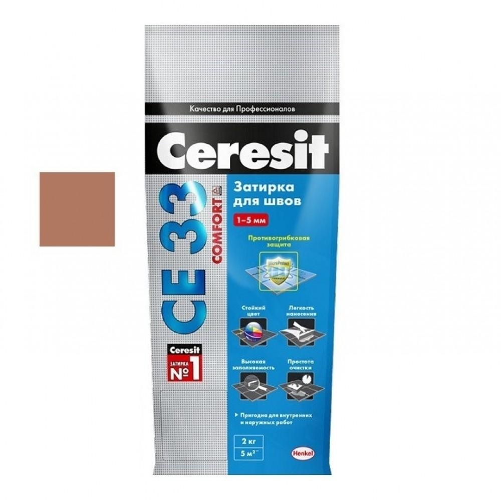 Затирка Ceresit CE33 Comfort / Церезит СЕ33 Комфорт какао (2 кг)Затирка для плитки<br>Приятный глазу цвет может придать затирка CERESIT CE33 какао (2 кг) № 52 швам, керамических/каменных облицовок. Светло-коричневый оттенок гармонично дополнит черные, коричневые, бежевые и даже белые плиточные покрытия. Швы создадут неповторимый визуальный эффект, подчеркнут дизайнерскую задумку и стилевое решение интерьера.Надежная затиркаИспользование CE33 – это гарантия долговечности швов. На прочностные характеристики затирки не повлияют морозы, осадки, температурные изменения (колебания), ультрафиолет и<br>