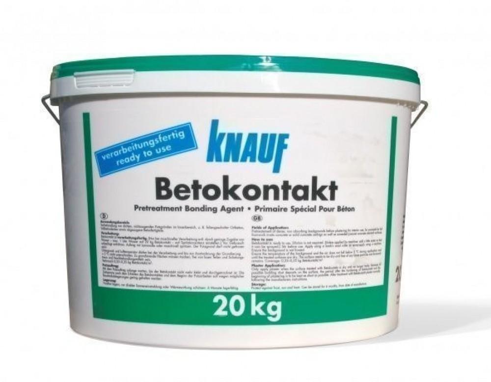 Адгезионный грунт бетоконтакт KNAUF / КНАУФ (20 кг)Бетоноконтакт<br>Перед выравниванием гипсовой штукатуркой стен, потолков, перегородок изготовленных из гладких, плотных, невпитывающих влагу материалов (цемент, монолитный бетон)  внутри помещений, рекомендуется предварительно обработать основание специальным составом – адгезионный грунт бетоконтакт KNAUF (20 кг). Продукт позволяет значительно увеличить сцепляемость поверхности с  наносимыми растворами, гарантируя прочность и долговечность покрытия. Также грунт может использоваться по обшивкам из гипсокартона и наружной сто<br>