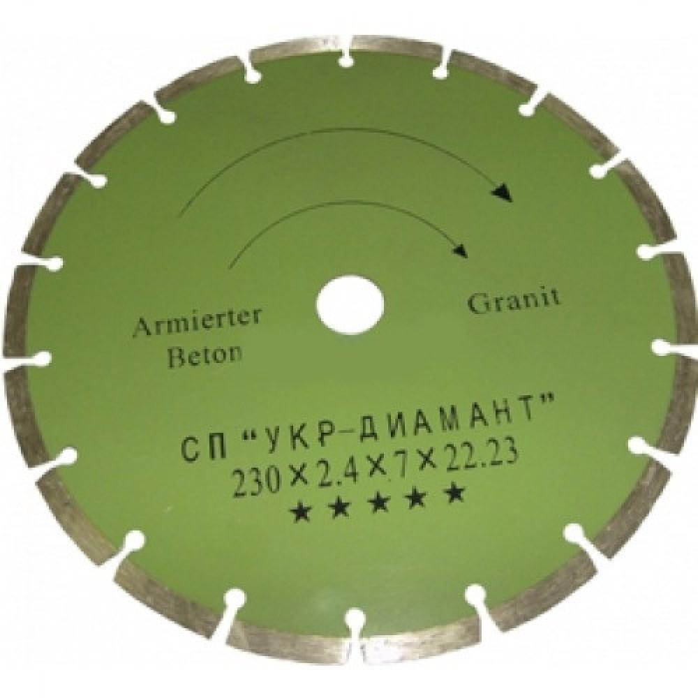 Диск алмазный сегмент класс Стандарт (диаметр 230 мм. посадочный 22 мм. толщина реза 2.4 мм)Диски<br>Резка твердых материалов займет немного времени, если использовать для работы диск алмазный сегмент класс Стандарт (диаметр 230 мм. посадочный 22 мм. толщина реза 2,4 мм.). Применение инструмента позволяет обрабатывать: камень, блоки, кирпич, бетон, гранит и другие материалы. Диск становится незаменимым помощником в ходе демонтажных работ, перепланировки, устройстве проемов в стенах/перегородках, облицовке брусчаткой, тротуарной, мраморной плиткой, укладке бордюров, протяжке электрического кабеля (штроблени<br>