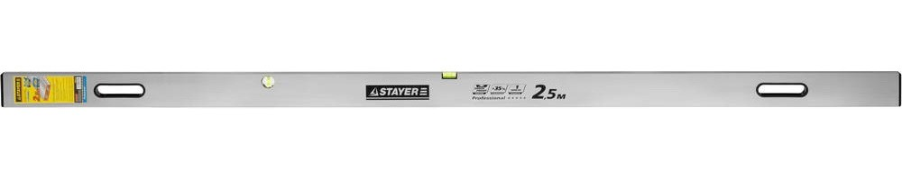 Правило-уровень с ручками STAYER Professional GRAND (2.5 м)Правило, терки<br>Правило-уровень с ручками STAYER Professional GRAND (2.5 м) – это длинная ровная рейка, предназначенная для выравнивания слоя штукатурки после ее укладки на вертикальную или горизонтальную поверхность. Мастера используют правило и при укладке штукатурки по поверхности с использованием «маяков». Выравнивание штукатурки с помощью правила – быстрое и несложное занятие для опытного специалиста.Правило-уровень с ручками STAYER Professional GRAND (2.5 м) изготавливается из материалов, которые не боятся постоянног<br>