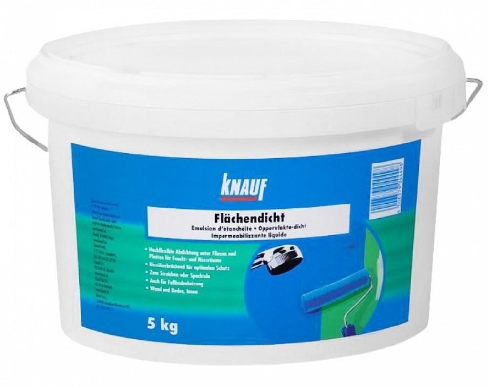 Гидроизоляция KNAUF FLACHENDICHT / КНАУФ ФЛЭХЕНДИХТ (5 кг)Гидроизоляционные материалы<br>Гидроизоляция КНАУФ-ФЛЭХЕНДИХТ предназначена для:<br><br>гидроизоляции влажных и сырых помещений, например, ванных, душевых, и других помещений;<br>гидроизоляции чувствительных к влаге оснований (гипсовая штукатурка, гипсокартонные и гипсоволокнистые листы, гипсовые стяжки, блоки, плиты и т.д.);<br>гидроизоляции гигроскопичных минеральных оснований (известковые, известково-цементные и цементные штукатурки, цементные плиты, цементные стяжки, бетон, пористый бетон и т.д.);<br>создания водонепроницаемой, эластичной гидроизол<br>
