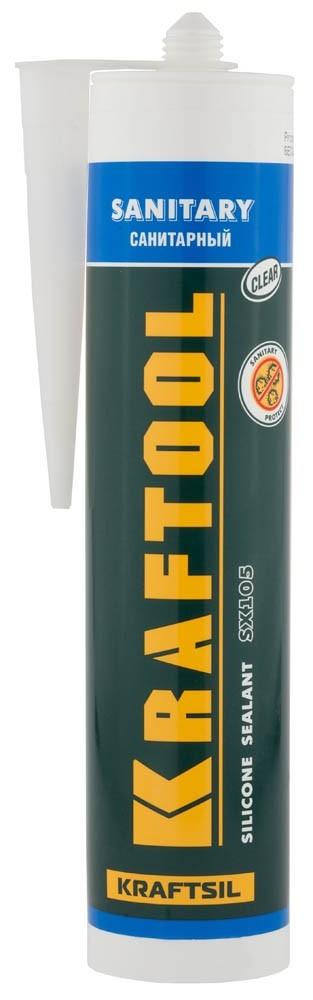 Герметик силиконовый санитарный Kraftool / Крафтул прозрачный (300 мл)Герметики, клеи, жидкие гвозди<br><br>