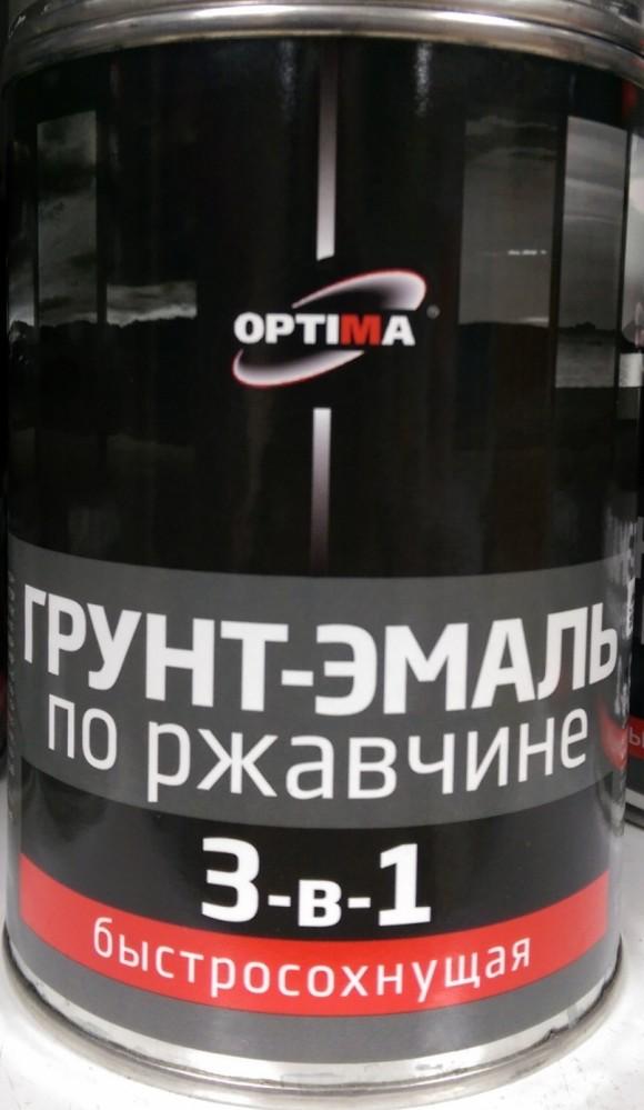 Грунт-эмаль по ржавчине 3-в-1 быстросохнущая Optima / Оптима серая (1 кг)Грунтовка<br>Расход 100-130 мл/м2.<br>