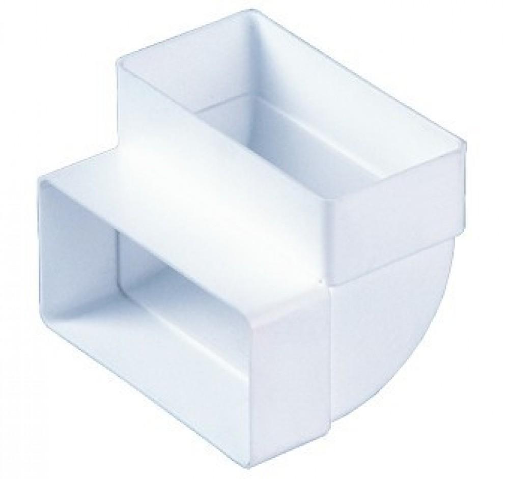 Колено вертикальное 90° для прямоугольных воздуховодов (60х204 мм)Вентиляция<br>Колено вертикальное, 60х204 – используется в системах приточной или вытяжной вентиляции помещений в качестве соединительного элемента плоских каналов между собой под углом 90 градусов. Изготовлено из ударопрочного полистирола белого цвета. Плоские каналы прямоугольного сечения соединяются между собой напрямую.<br>