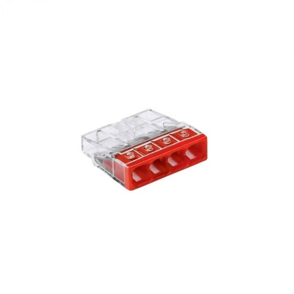 Клемма WAGO 2273-204Клеммники, ваги, шины<br>Предназначены для соединения медных одножильных (цельнотянутых) проводников. <br>При использовании клеммы с пастой, которая препятствует процессу окисления металла, возможно соединение как медных так и алюминиевых проводников.   <br>Прозрачный корпус позволяет визуально контролировать правильность проводного соединения. <br>Вы можете использовать смотровое стекло проверки защиты от касаний, чтобы убедиться, что провод был правильно зачищен. <br>Тестовые гнезда оптимизированы для использования всех стандартных тестовых<br>
