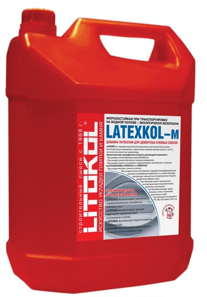 Латексная добавка LITOKOL LATEXKOL - M / ЛИТОКОЛ ЛАТЕКСКОЛ (20 кг)Грунтовка<br>Многофункциональная латексная добавка LITOKOL LATEXKOL (20 кг) применяется для приготовления плиточного клея на основе цементного вяжущего. Ее использование позволяет значительно расширить область применения раствора:- Облицовка поверхностей вступающих в непосредственный контакт с водой: стены и полы в душевой, моечной, а также бассейны, искусственные водоемы и так далее.- Декорирование оснований подверженных нагреванию, например стяжки с установленными системами водяных/электрических «Теплых полов», облицо<br>