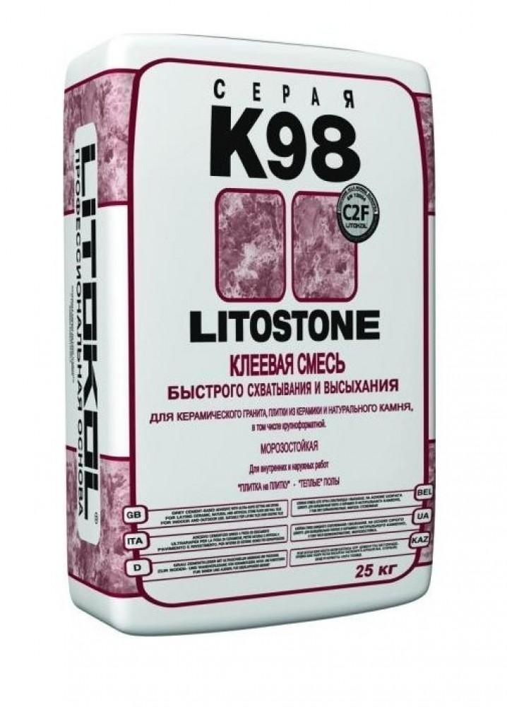 Клей плиточный LITOKOL LITOSTONE K98 / ЛИТОКОЛ ЛИТОСТОУН К98 (25 кг)Плиточный клей, клеевые смеси<br>Высокий потребительский спрос на клей плиточный LITOKOL LITOSTONE K98 (25 кг) обуславливается его уникальными эксплуатационными свойствами. В-первую очередь – возможность использования с разнообразными облицовочными материалами: керамика, мозаика, керамогранитная плитка (включая крупноформатную), натуральный камень, базальт, темный мрамор, гранит и так далее. Во – вторых – клей обладает великолепной адгезией к любым материалам основания: цемент, бетон, гипсокартон, кирпич, ГВЛ, ЦСП, старая плитка, гипсовые<br>