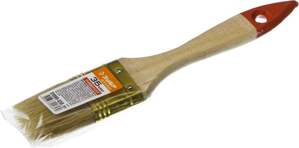 Кисть плоская ЗУБР УНИВЕРСАЛ-ОПТИМА (35 мм)Кисти<br>Приступая к малярным работам, следует заранее позаботиться о наличии необходимого инструмента. Ведь далеко не всегда можно обойтись только одним валиком. Кисть плоская ЗУБР УНИВЕРСАЛ-ОПТИМА (35 мм) отличается небольшой шириной рабочей щетки. Такая особенность позволяет аккуратно наносить краску, не задевая соседние поверхности, на узкие элементы, получая гладкое, ровное покрытие (углы, стыки, примыкания, обрешетки, рейки, бруски, плинтуса, фризы и многое другое).Характеристики инструмент<br>
