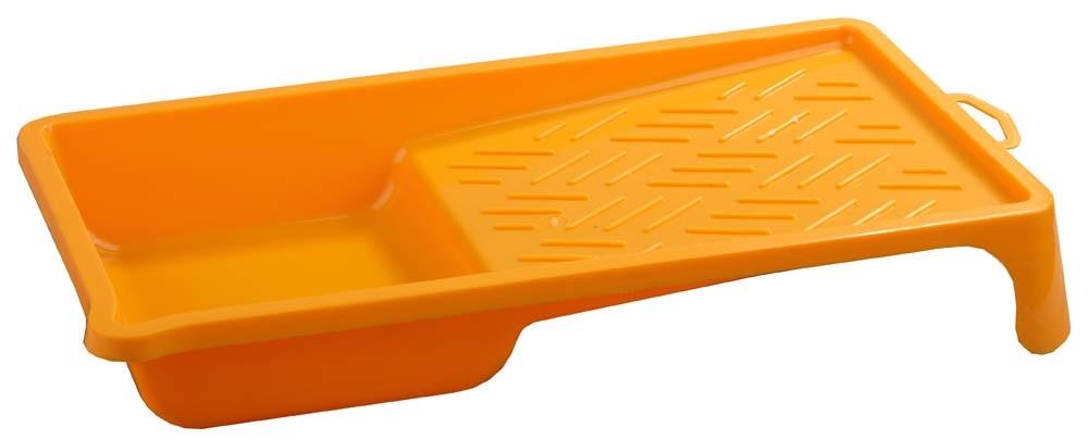 Ванночка STAYER MASTER малярная пластмассовая (120х200 мм)Строительные емкости<br>При работе с малярным валиком не обойтись без специального вспомогательного инструмента, которым является ванночка STAYER MASTER малярная пластмассовая (120х200 мм). Она представляет собой своеобразный пластиковый поддон с двумя рабочими участками. Первый – углубление для краски, второй – рифленая поверхность, плоскость для «прокатывания» валика. Такое строение обеспечивает возможность одновременного забора и удаления с ролика излишков ЛКМ. «Прокатывая» валик по площадке с неровностями,<br>
