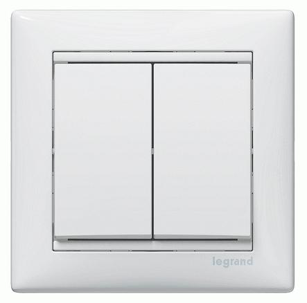 Выключатель двойной без подсветки Legrand / ЛеграндРозетки и выключатели Легранд (Legrand)<br><br>