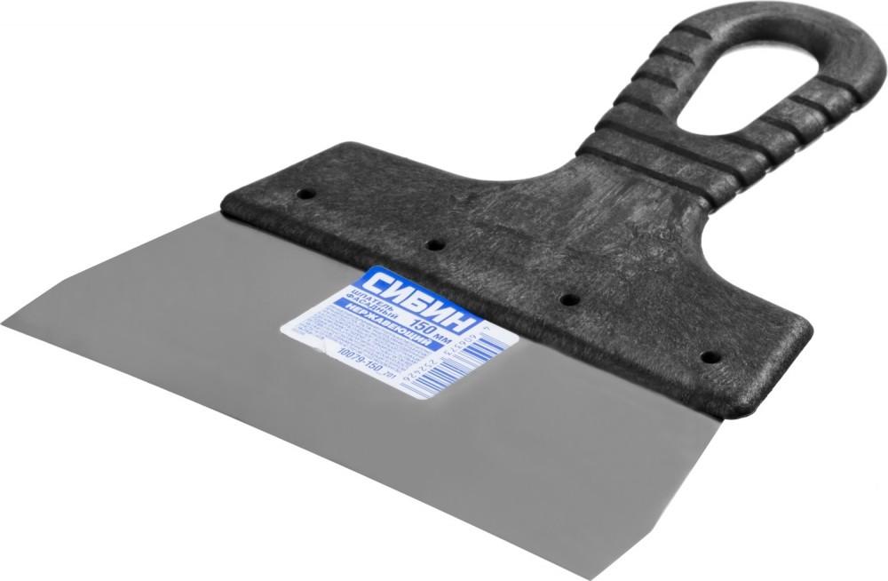 Шпатель нержавеющий СИБИН ФАСАДНЫЙ (150 мм)Шпатели, кельмы, гладилки<br>Оптимальным инструментом для заделки трещин, швов, выравнивания небольших участков поверхности служит шпатель нержавеющий СИБИН ФАСАДНЫЙ (150 мм). Благодаря пятнадцатисантиметровой ширине и упругости лезвия, можно обрабатывать труднодоступные места, при этом раствор плотно ложится на основание и полностью заполняет пустоты. Также область применения шпателя включает:- Очистку поверхностей от старой известки, побелки, обоев, лакокрасочного слоя.- Укладка плитки на неровное основание, когда за счет толщины кле<br>