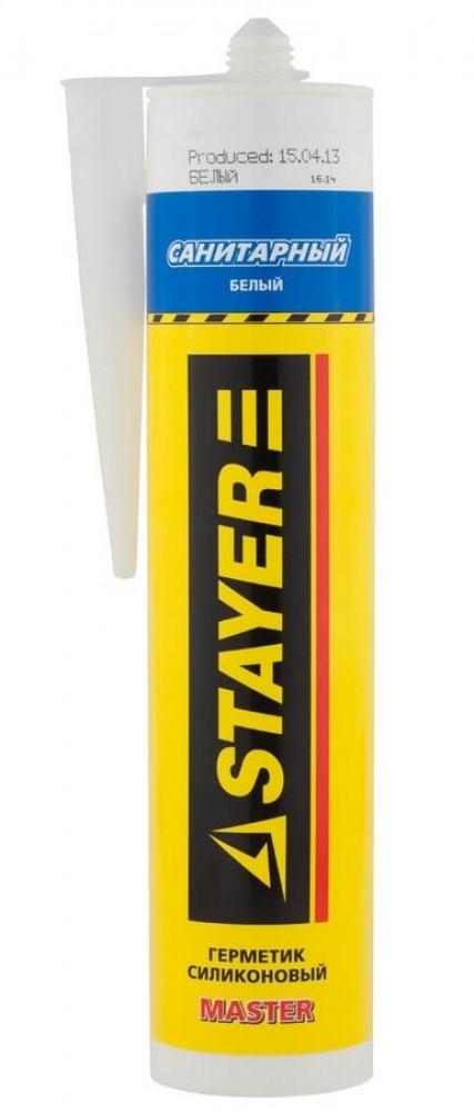 Герметик силиконовый санитарный Stayer Master / Стаер белый (260 мл)Герметики, клеи, жидкие гвозди<br><br>