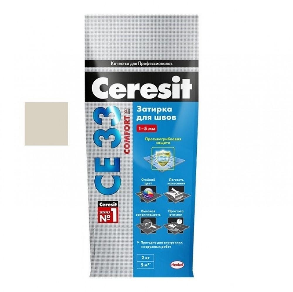 Затирка Ceresit CE33 Comfort / Церезит СЕ33 Комфорт багамы бежевая (2 кг)Затирка для плитки<br>Для узких швов на керамических/каменных облицовках (до 5 мм), используется затирка CERESIT CE33 багамы бежевая (2 кг) № 43. Ее преимущество в универсальности применения. Материал подходит для уличных плиточных покрытий, подверженных агрессивным природным воздействиям и для помещений (влажных/сухих). Благодаря сбалансированному составу, включающему заполнители, пигменты и модификаторы, замешанные на цементной основе, затирка обладает:- Устойчивостью к осадкам и морозам – выдерживает смену сезонов, оттепель,<br>