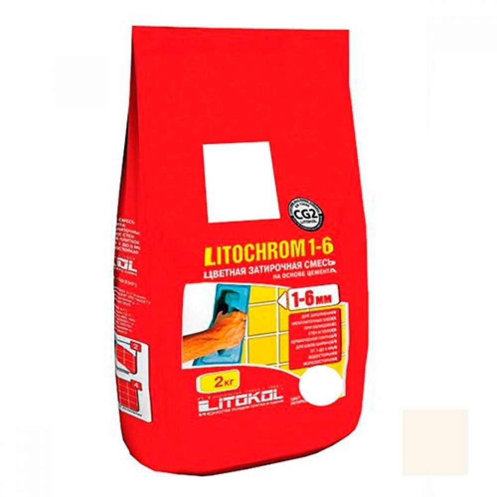 Затирка LITOKOL LITOCHROM 1-6 C.50 / ЛИТОКОЛ ЛИТОХРОМ 1-6 С.50 жасмин (2 кг)Затирка для плитки<br>Для сочетания с теплыми, кремовыми оттенками плитки рекомендуется затирка LITOCHROM 1-6 C.50 (жасмин) 2 кг. Ее светло-бежевый цвет позволяет привнести в интерьер уют, спокойствие и домашнюю теплоту. В зависимости от идеи дизайнеров затирка может сглаживать межплиточное пространство, делать его незаметным, тем самым сохранять единство цветового решения облицовки. Используя «жасмин» с более темными материалами отделки наблюдается контраст, который дает возможность оригинально декорировать поверхность, наприме<br>