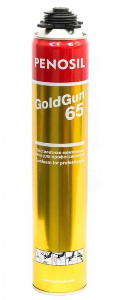 Пена профессиональная монтажная PENOSIL Gold Gun 65 / Пеносил (650 мл)Монтажная пена<br>Универсальная профессиональная монтажная пена PENOSIL (0.65 л) выполняет сразу несколько функций: герметизации, склеивания, тепловой и звуковой изоляции. С ее помощью заполняют трещины и щели, препятствуя попаданию в помещение холодного воздуха (в кровельных, стеновых конструкциях), надежно фиксируют оконные блоки, балконные входные группы, дверные коробки (избавляет от необходимости использовать шурупы, гвозди). Помимо этого закрепляют изоляционные плиты (заполняя швы), заделывают места вытяжек, кондиционе<br>