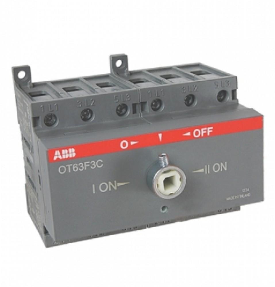 Реверсивный рубильник ABB (OT 63F3C / 63A / без ручки)Автоматика<br>С целью подключения или отключения электрической нагрузки, имеющей большую силу тока, используются рубильники. Простейшие коммутационные устройства имеют ручной привод, оснащены контактами (ножами), при замыкании входящими в пружинящие гнезда. В зависимости от способа разрыва цепи и типа конструкции рубильники разделяются на модели с поворотным приводом (разрывные), перекидные и реверсивные устройства.Реверсивный рубильник ABB OT63F3C используется в трехфазных электрических силовых цепях в роли переключател<br>