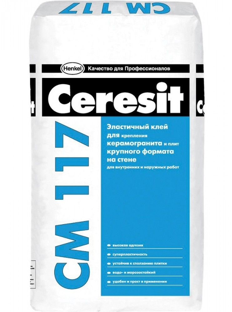 Эластичный клей для плитки и керамогранита HENKEL CERESIT CM117 / ХЕНКЕЛЬ ЦЕРЕЗИТ СМ117 (25 кг)