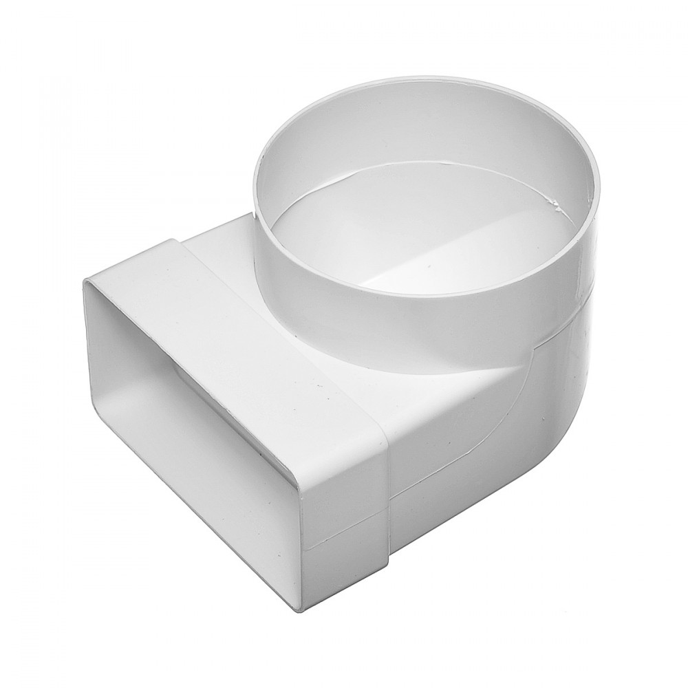 Соединитель 90° прямоугольного воздуховода 55х110 мм с круглым D100 ммВентиляция<br>Колено соединительное плоское-круглое, 55Х110 d100 – используется в системах приточной или вытяжной вентиляции помещений в качестве соединительного элемента плоских и круглых каналов между собой под углом 90 градусов. Изготовлено из ударопрочного полистирола белого цвета. Круглые каналы присоединяются через специальный соединитель нужного диаметра, а плоские каналы – напрямую.<br>