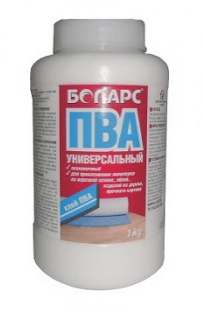 Клей ПВА БОЛАРС универсальный (1 кг)Клей, Жидкое стекло, Очистители и другие жидкости<br>Клей предназначен для склеивания изделий из дерева, бумаги, картона, а также для приклеивания линолеума, ковровых покрытий на ворсовой основе и обоев. Может применяться в строительных растворах в качестве пластифицирующей добавки. Расход 200 г/м2<br>