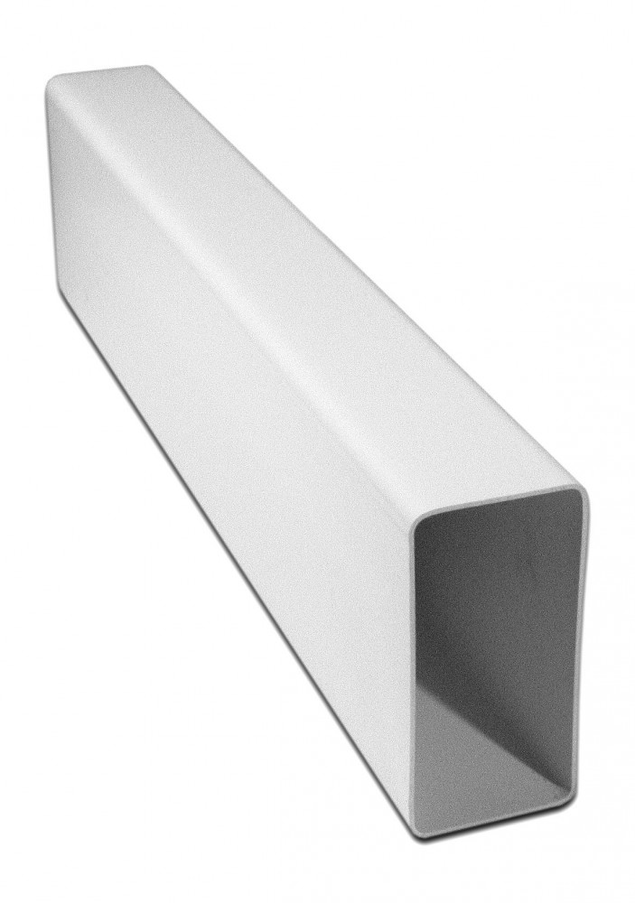 Воздуховод прямоугольный (55х110) L=1 мВентиляция<br>Канал плоский представляет собой полую конструкцию прямоугольной конфигурации. Воздуховод предназначен для создания плоских вентиляционных систем как приточного, так и вытяжного типа, в бытовых и промышленных помещениях. Пластиковое изделие белого цвета легко разрезается ножовкой по металлу, монтируется при помощи специальных соединителей соответствующих размеров.<br>