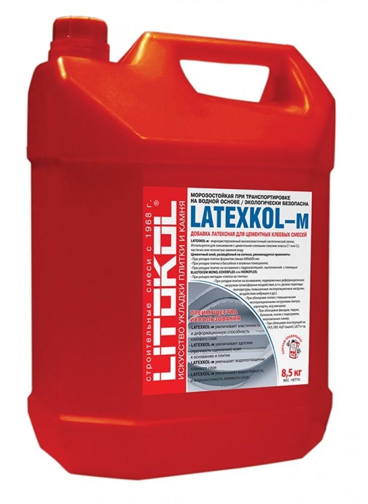Латексная добавка LITOKOL LATEXKOL - M / ЛИТОКОЛ ЛАТЕКСКОЛ (8.5 кг)Грунтовка<br>Уникальная латексная добавка LITOKOL LATEXKOL (8,5 кг) имеет жидкую консистенцию и предназначена для добавления в цементные клеевые смеси для улучшения их качественных характеристик. Процесс приготовления раствора не занимает много времени. В емкость с добавкой насыпается сухая смесь (класс С1, например LITOKOL К17, Х11) и максимально тщательно перемешивается с помощью миксера до получения однородной (без комков) массы. Применение латекса обеспечивает клеевому составу:- Высокую пластичность  - позволяет нан<br>