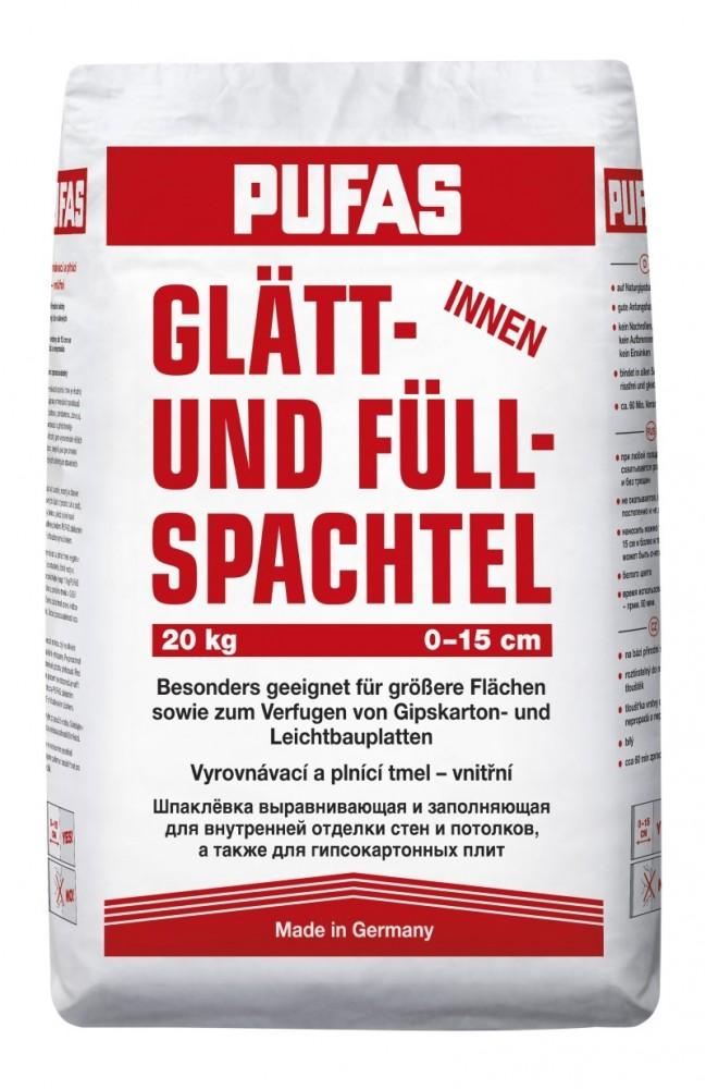 Шпаклевка PUFAS GLATT UND FULL SPACHTEL / ПУФАС ГЛЭТ АНД ФУЛ ШПАХТЕЛЬ №3 финишная толстослойная (20 кг)Шпатлевки сухие<br>Компания Пуфас известна на мировом рынке строительных материалов высоким качеством своей продукции. Шпаклевка PUFAS GLATT UND FULL SPACHTEL финишная толстослойная (20 кг) является образцом современного строительного материала высочайшего качества. Это смесь, в основе которой положены вяжущие гипсовые компоненты, дополнительно усиленная целлюлозой.Предназначена шпаклевка для выполнения внутренних работ по выравниванию поверхности стен и потолков перед дальнейшим нанесением декорирующих материалов (краски, об<br>